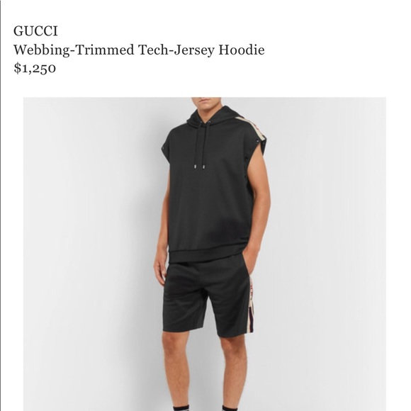 6ed38f855 Gucci Other - GUCCI Webbing-Trimmed Tech Jersey Hoodie
